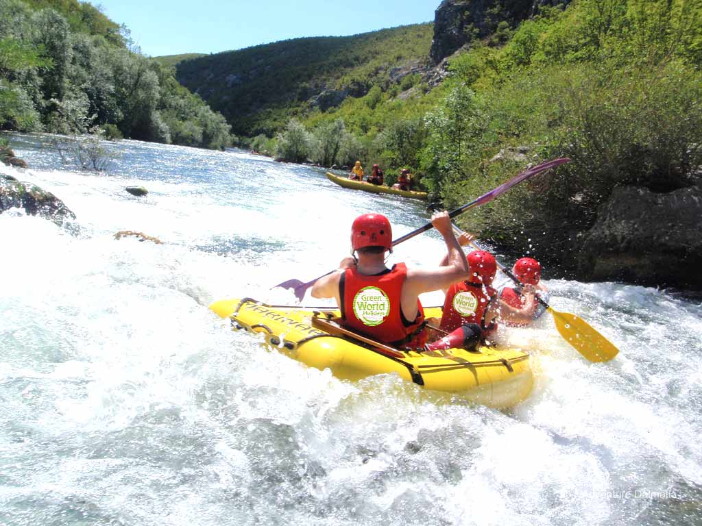 thrilling white water rafting on the retina river as a part of a family active holiday in Croatia