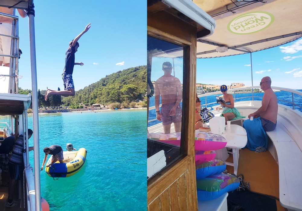 Teenagers jumping off the boat, during a family active holiday in Croatia