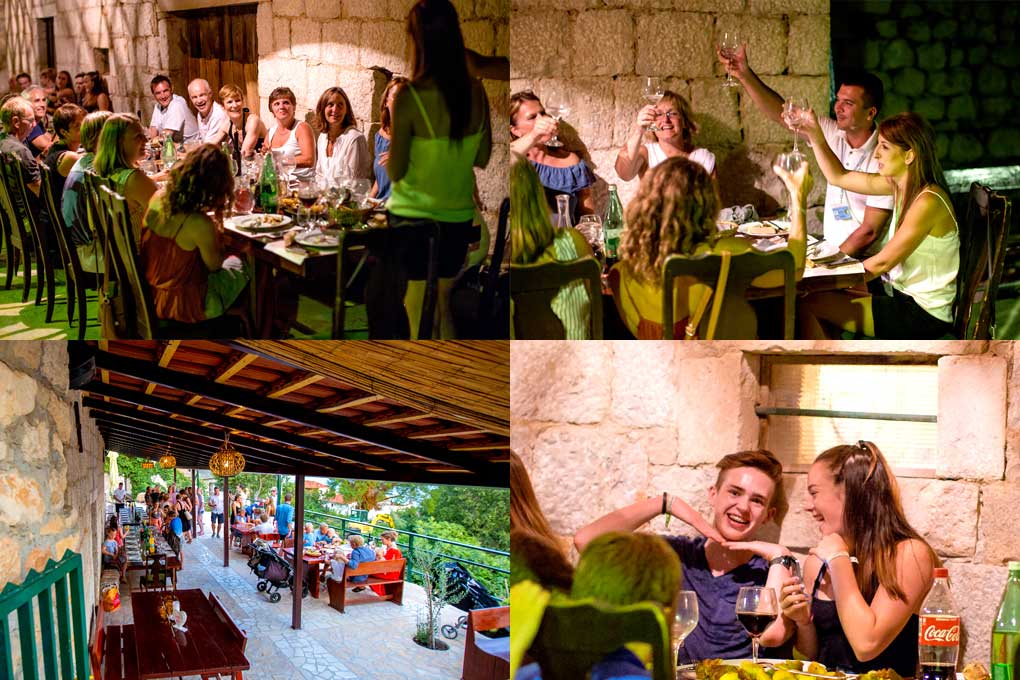 dining out during a active family week in Croatia