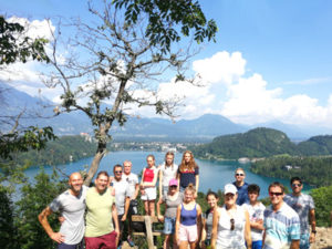 group of people in Lake Bled