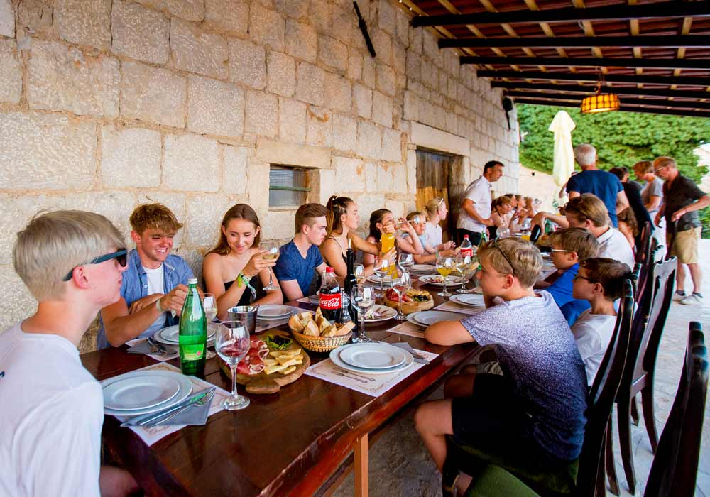 Family active holiday eating out in Croatia