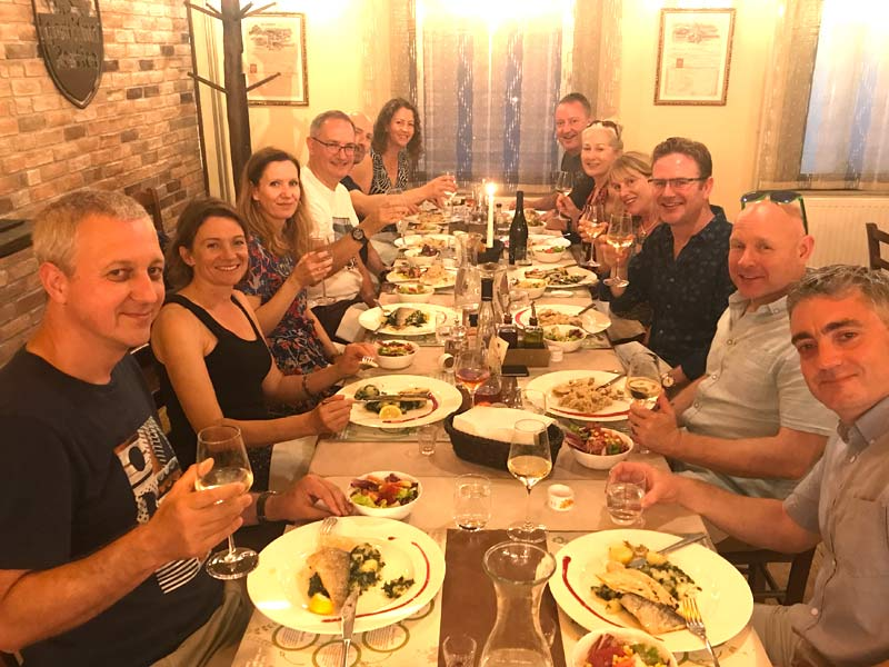 Dinner during a family active holiday in Slovenia