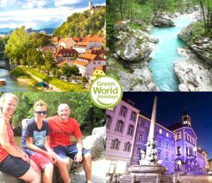 Family enjoying an active vacation in Slovenia