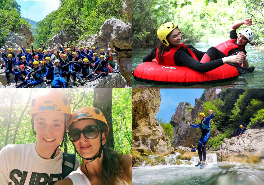 canyoning, tubing, rafting, kayaking fun for sporty families, wanting to book active holidays in Europe.