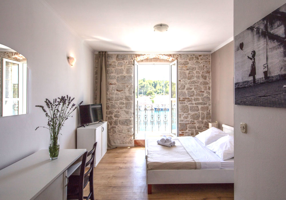 Boutique style bedrooms at the Olife hotel in Milna