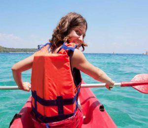 Open top sea kayaking tour for active families