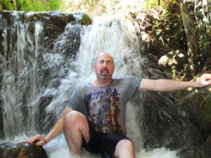 Dad in waterfall