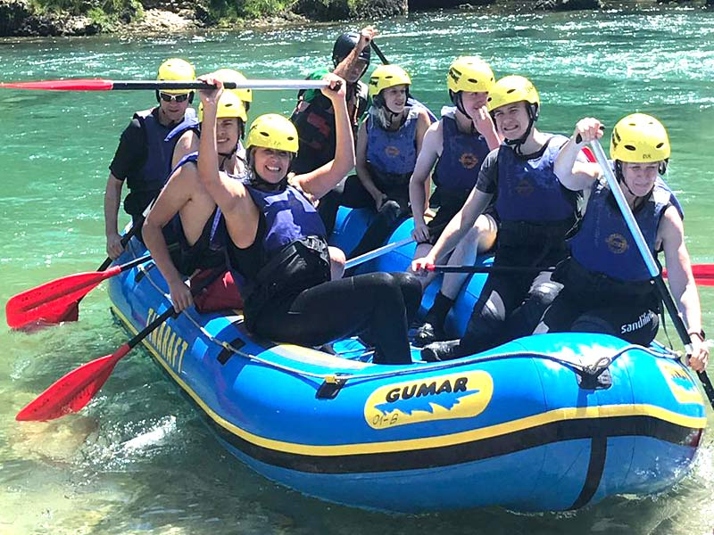 White water rafting as part of a family adventure week in Slovenia. Great for teenagers and parents alike.