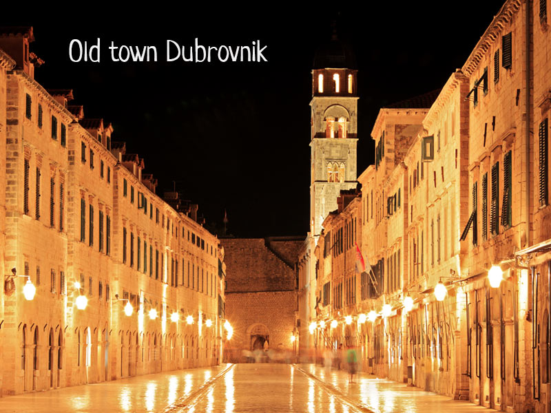 Old town Dubrovnik at night time